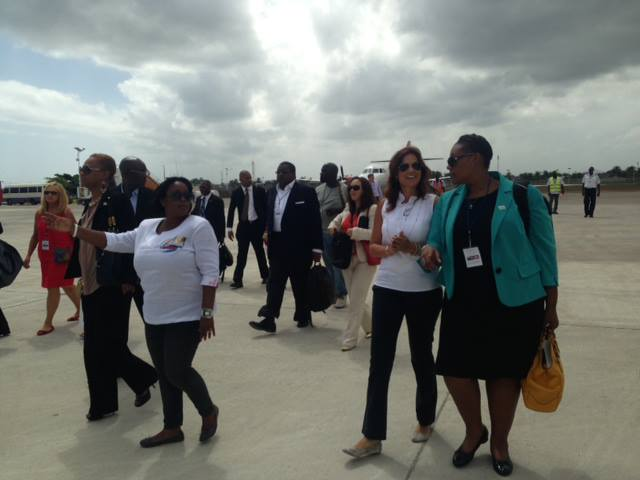The TCI Delegation landing at the Cape Haitian airport after a smooth ride on the newly established charter commuter, Sunrise Airways to a warm welcome by Haiti's Tourism Minister, Stephanie Villedrouin.  The Public Private Sector group is led by TCI Deputy Premier, Hon Akierra Missick.