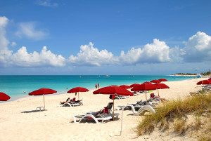 A section of the 12-mile white sandy beach in Providenciales.