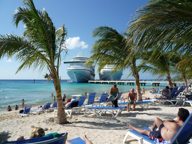 A view of the Carnival Cruise port in the capital of the Turks and Caicos Islands, Grand Turk.