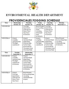 EHD Fogging Schedule