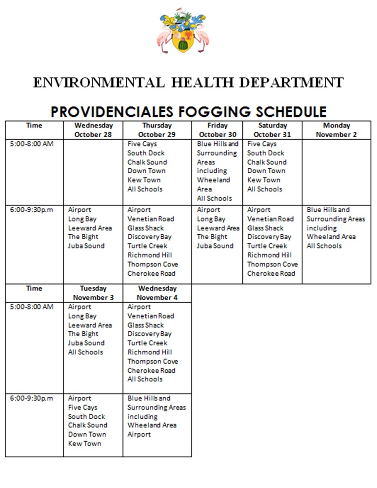 EHD Fogging Schedule