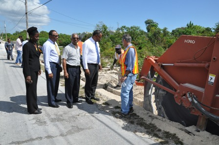 Government officials toured the ongoing construction of the West Grand Bahama Potable Water Project in Holmes Rock on Monday, May 30, 2016. Shown in photo from left are: Brenda Colebrooke, Administrator, West Grand Bahama; Melvin Seymour, Permanent Secretary, Ministry for Grand Bahama; Geron Turnquest, General Manager, Grand Bahama Utility Company; and Minister for Grand Bahama,  the Hon. Dr. Michael Darville. (BIS Photo/Vandyke Hepburn).