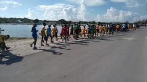 School children participating in walk