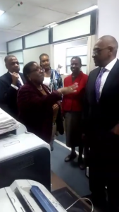 Newly Sworn In Prime Minister, Dr.Hubert Minnis, meets and greets staff at the Office of the Prime Minister during a tour of the office