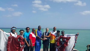 Pigeon Point, Tobago.Tuesday May 30th, the Australian High Commissioner to Trinidad and Tobago, Commonwealth Games Federation Regional Vice President for the Caribbean Fortuna Belrose, the Queen's Baton Relay (QBR) delegation and the Trinidad and Tobago Commownwelath Games Association. Photo Courtesy TTOC