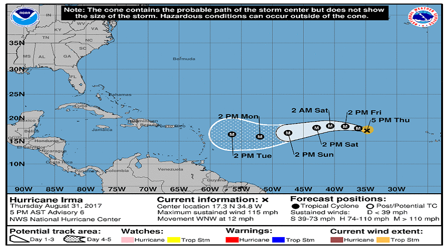 Hurricane Irma now a major hurricane