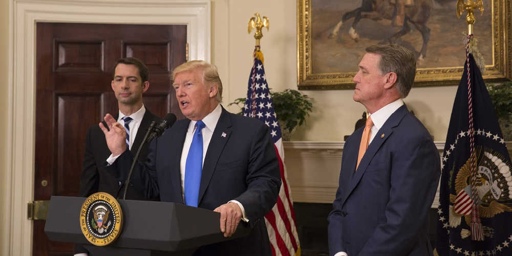 President_Donald_J._Trump,_Senator_Tom_Cotton,_and_Senator_David_Perdue,_August_2,_2017_(36182228582)