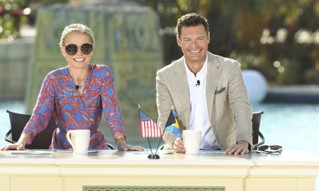 "Kelly Ripa and Ryan Seacrest are pictured during the production of ""Live with Kelly and Ryan"" on Tuesday, February 6, 2018,  on location at Atlantis, Paradise Island, which will be the setting for four ""Live with Kelly and Ryan"" broadcasts originating from The Islands of the Bahamas, airing Feb. 5-8, 2018. Photo: David M. Russell/Disney/ABC Home Entertainment and TV Distribution"