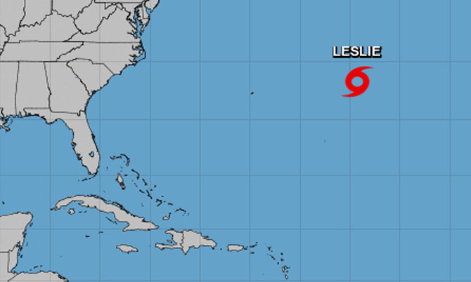 Tropical Storm Leslie Expected To Strengthen While Moving Slowly Over Central Atlantic